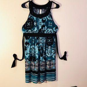 Love Tease Sz:M black turquoise necklace dress 👗